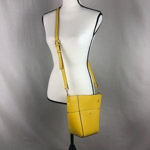 GIANNI BINI crossbody yellow leather cone purse
